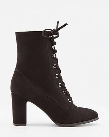 Faux Suede Round Toe Lace-Up Ankle Boot