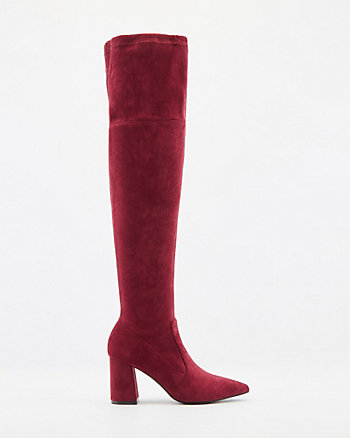 Faux Suede Pointy-Toe Over-The-Knee Boot