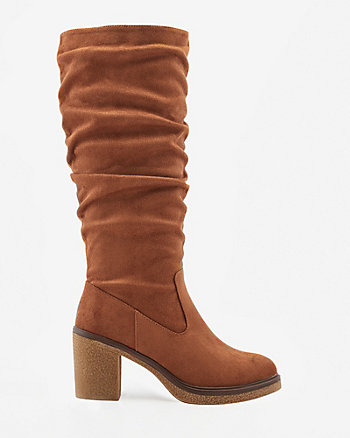 Ruched Faux Suede Knee-High Boot