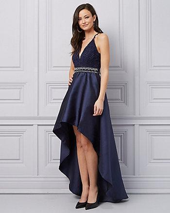 Embellished Lace V-Neck Gown