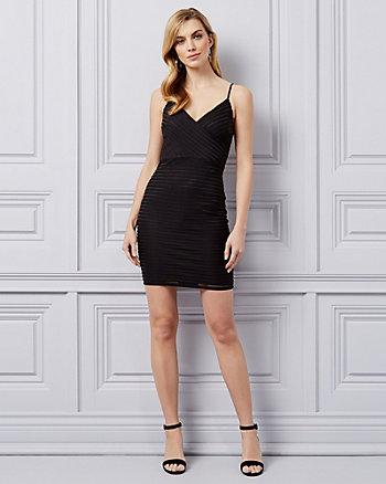 bc8ce328f95 Black · White · Shadow Stripe Knit V-Neck Mini Dress ...