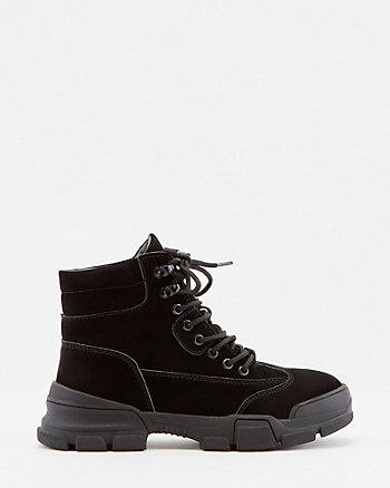 Faux Suede Lace-Up Ankle Boot