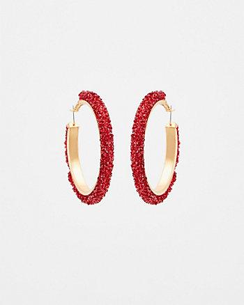 Gem Encrusted Hoop Earrings