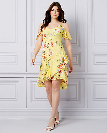 3821a67496e0 Floral Print Chiffon Cold Shoulder Dress ...