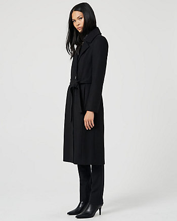 Melton Wool Blend Notch Collar Coat