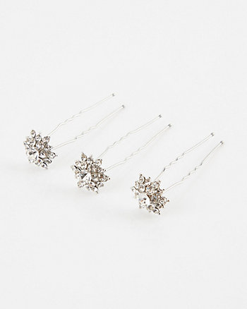 Set of Three Gem Flower Bobby Pins
