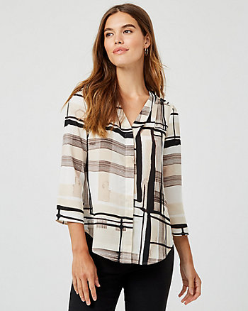 Abstract Print Button-Front Blouse