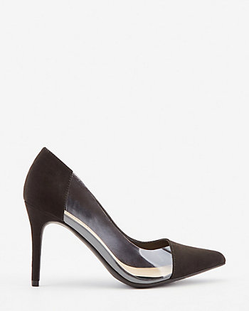 Faux Suede Pointy Toe Transparent Pump