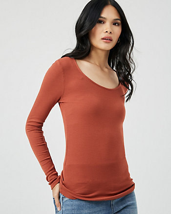 Rib Knit Scoop Neck Top