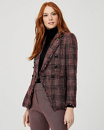 Frayed Bouclé Double Breasted Blazer