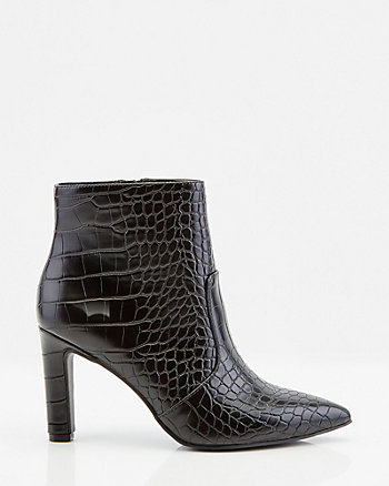 Croco Embossed Faux Leather Pointy Toe Boot