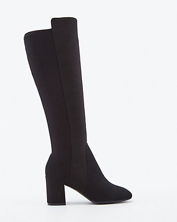 Stretch Faux Suede Knee-High Boot