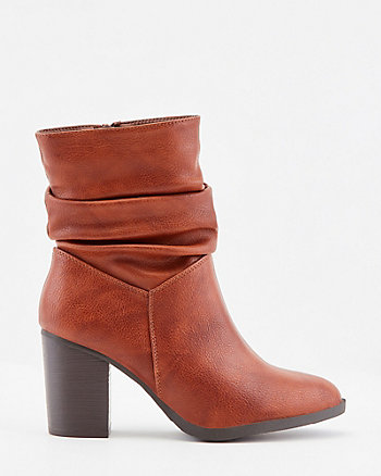 Ruched Faux Leather Almond Toe Ankle Boot