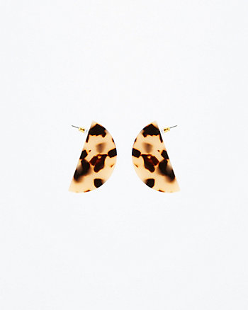 Tortoise Half Moon Drop Earrings