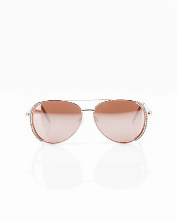 Gem Embellished Aviator Sunglasses