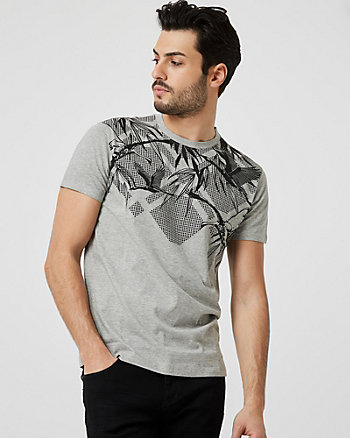 Bird Print Cotton Blend Crew Neck T-Shirt