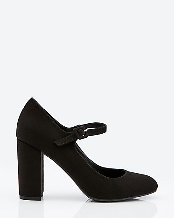 Faux Suede Round Toe Mary Jane Pump