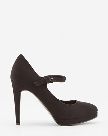 Faux Suede Almond Toe Mary Jane Pump