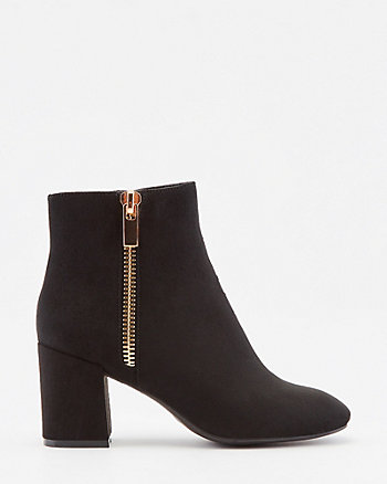 Faux Suede Square Toe Ankle Boot