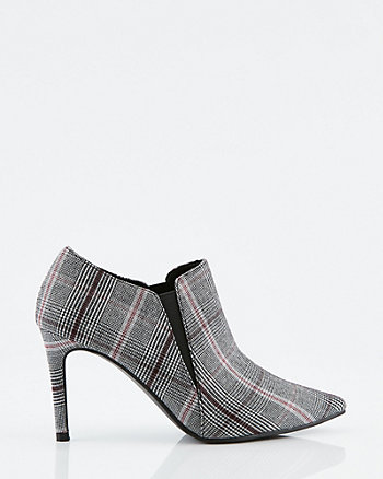 Check Print Pointy Toe Shootie