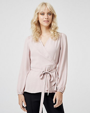Pleated Wrap-like Blouse