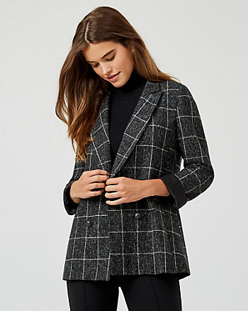 Check Wool Blend Double Breasted Blazer