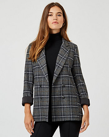 Check Double Breasted Blazer
