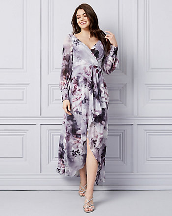 Floral Print Chiffon Fit & Flare Gown