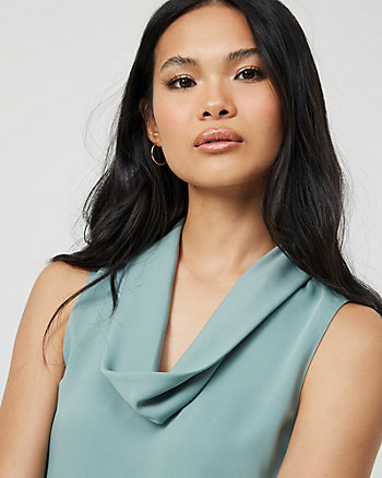 Shiny Twill Cowl Neck Blouse