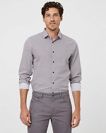 Chemise à motif de coupe ajustée en coton