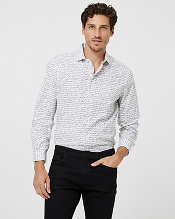 Scribble Print Cotton Poplin Tailored Fit Shirt