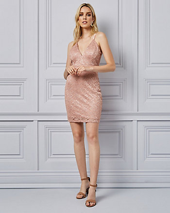 Sparkle Lace V-Neck Dress