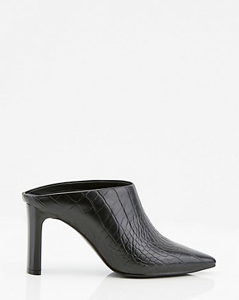 Croco Embossed Pointy Toe Mule