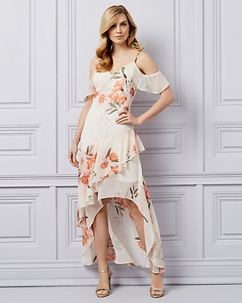 Floral Print Chiffon Ruffle High-Low Dress