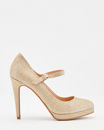 Glitter Almond Toe Mary Jane Platform Pump