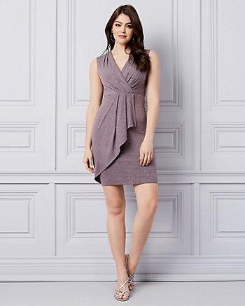 Sparkle Knit V-Neck Ruffle Dress