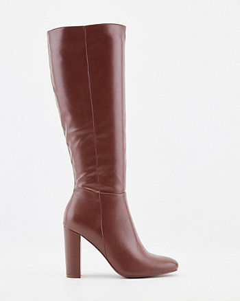 Faux Leather Almond Toe Knee High Boots