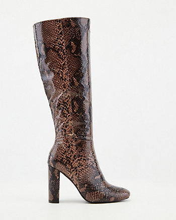 Snake Embossed Faux Leather Knee-High Boot