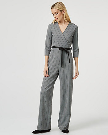 Stripe Knit Slim Leg Jumpsuit