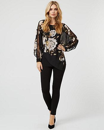 Floral Print Lace & Chiffon Poncho Blouse