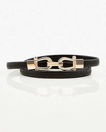 Skinny Faux Leather Belt