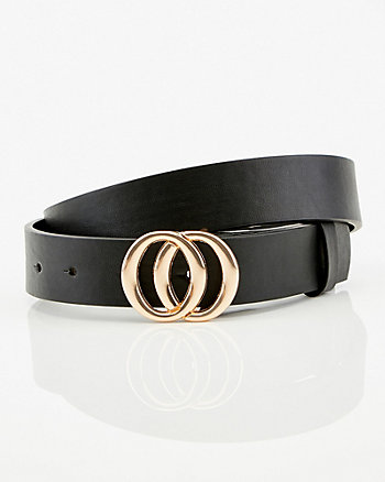 Faux Leather Double-O Buckle Belt