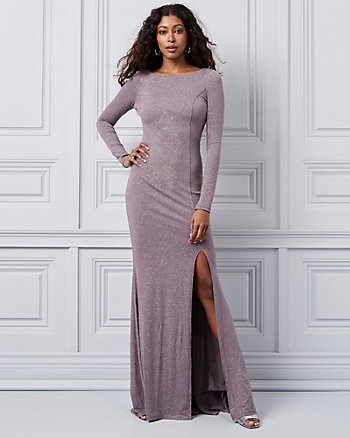 Sparkle Knit Open Back Gown