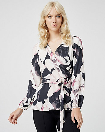 Abstract Print Wrap-like Blouse