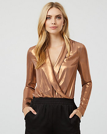 Foil Chiffon Wrap-Like Bodysuit Blouse