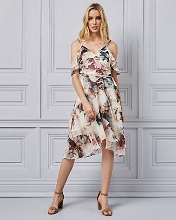 70fe14b37d002 Floral Print Chiffon Off-the-Shoulder Dress