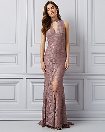 Sparkle Lace Open Back Gown