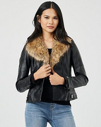 Faux Fur & Faux Leather Aviator Jacket