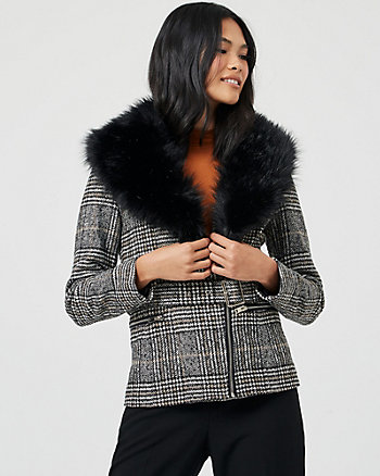 Glen Check Faux Fur & Viscose Blend Jacket