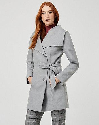 Manteau à col châle d'aspect cachemire